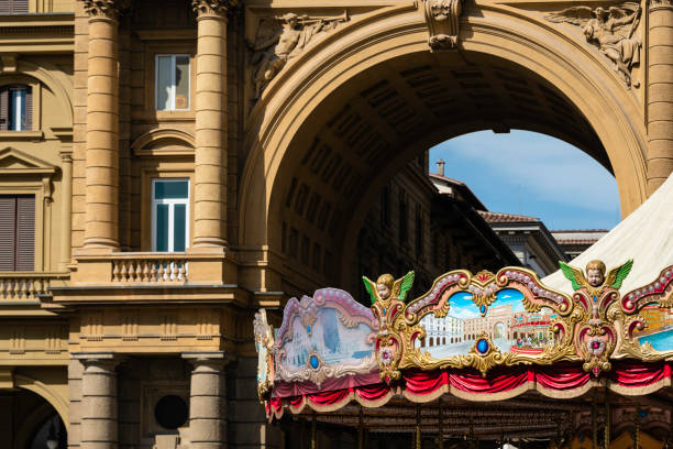 Carousel, Piazza della Repubblica, Florence, Italy The famous carousel in the Piazza della Repubblica, a major town square in the old town section of Florence, Italy. florence carosel stock pictures, royalty-free photos & images
