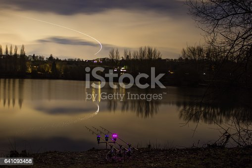 istock Carp Fishing Angling at Night with illuminated Alarms 641093458