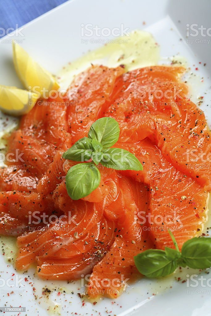 carpaccio from kipper with juniper royalty-free stock photo