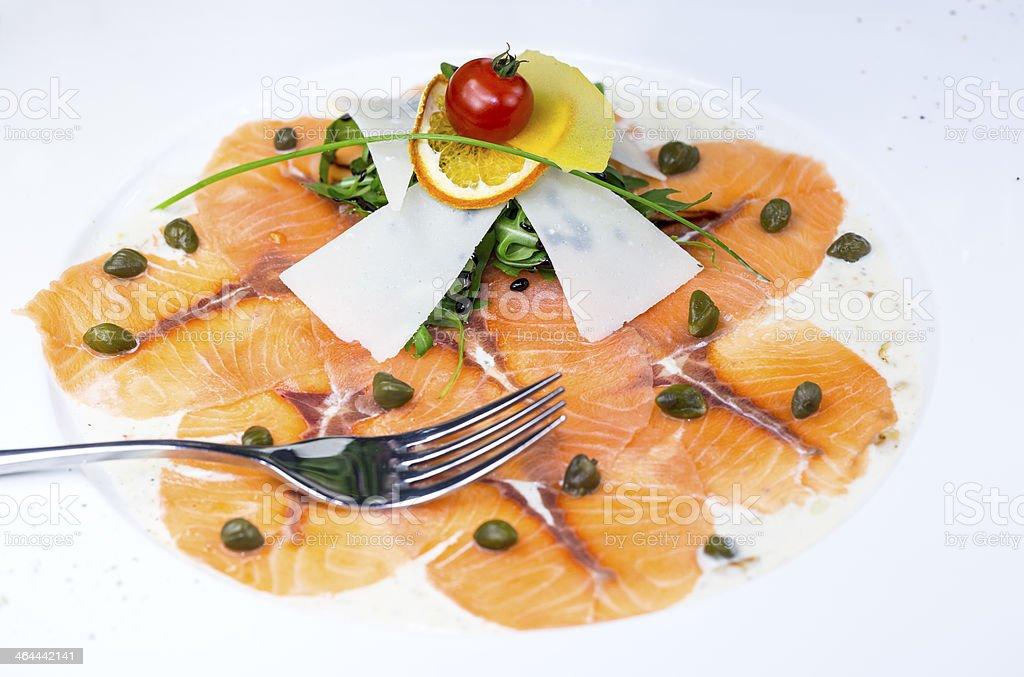 carpaccio of salmon meat royalty-free stock photo
