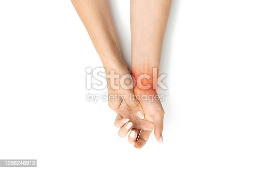 668285874 istock photo Carpal tunnel. Hand pain in woman injury wrist. Arthritis office syndrome is consequence of computer. Health care isolated on white background. 1256246913