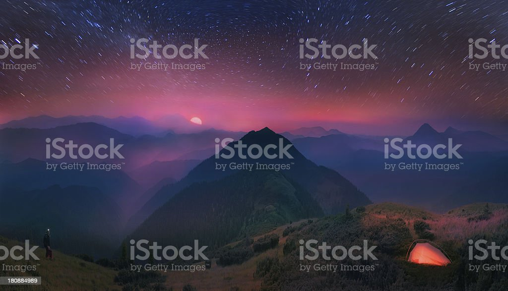 Carpathians,  moon and stars on the background royalty-free stock photo