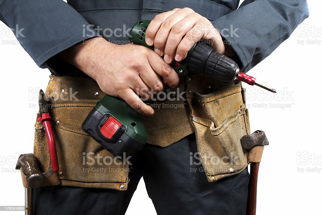 Carpenter and drill royalty-free stock photo