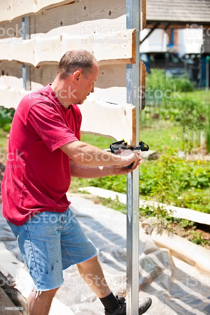 Carpenter at work royalty-free stock photo