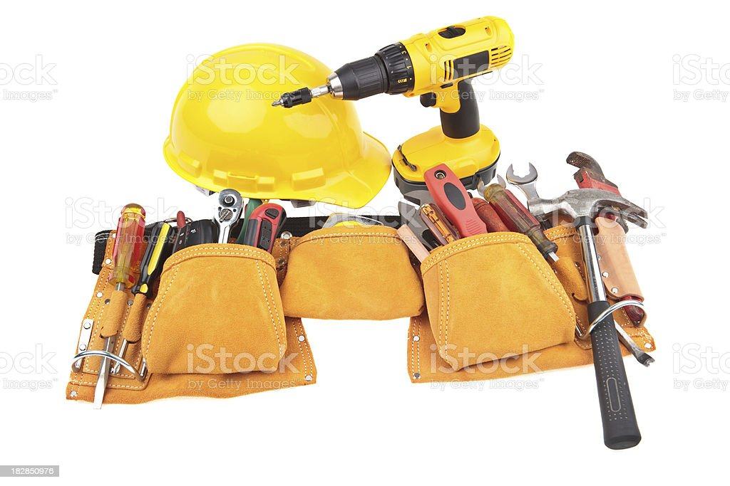 carpenter belt with tools, hardhat and power tool royalty-free stock photo