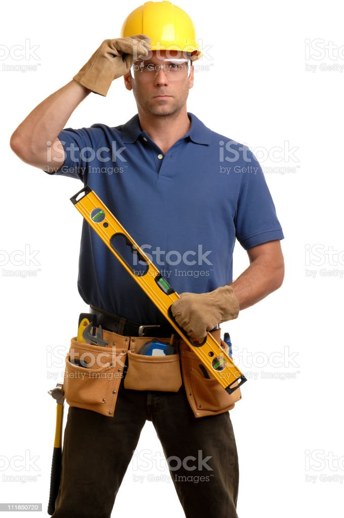 Carpenter Contractor Man Wearing Gogles Toolbelt Hardhat Isolated on White royalty-free stock photo