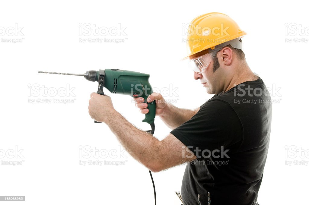 Carpenter contractor man with drill, isolated on white royalty-free stock photo