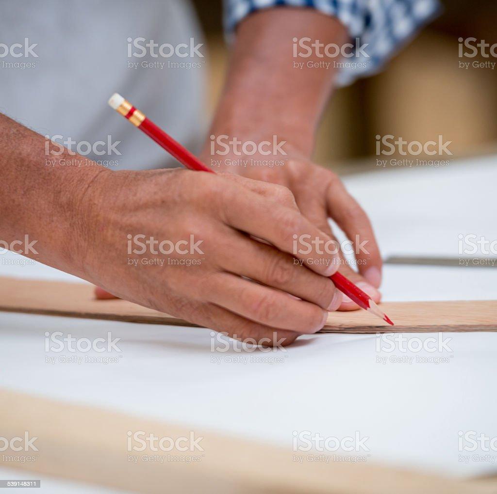Carpenter drawing stock photo