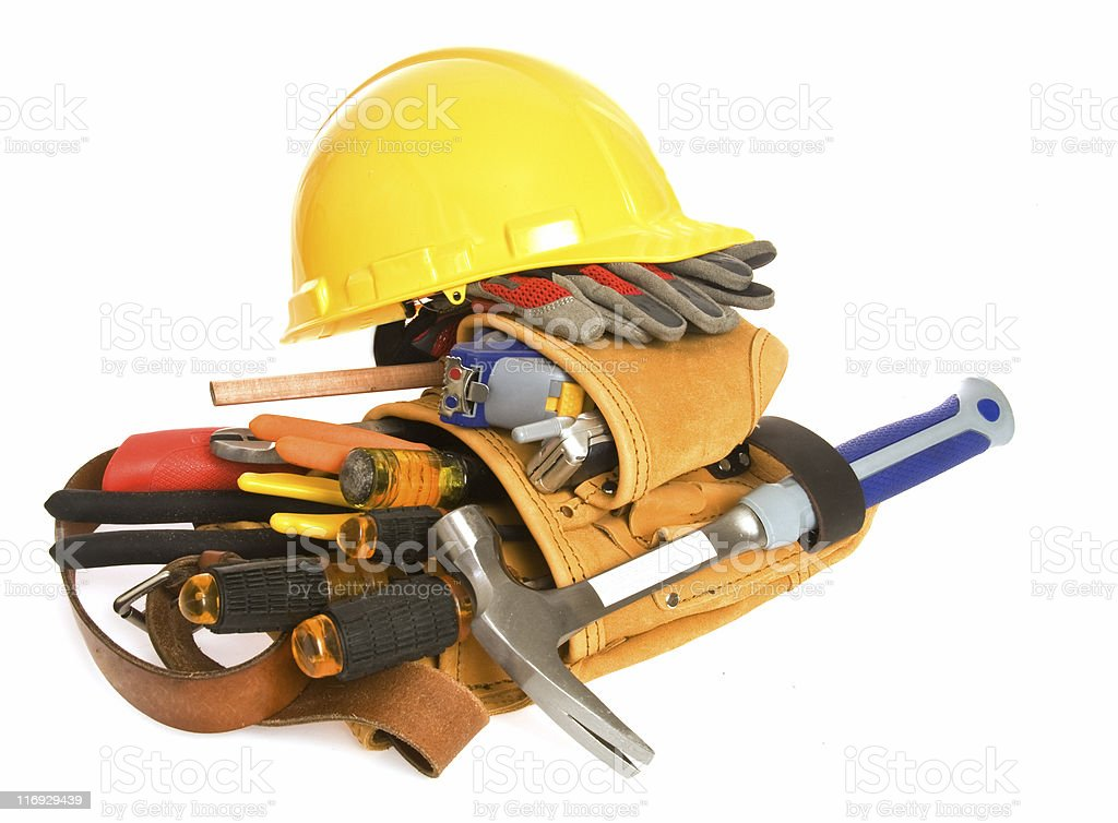 Carpenter, Electrician Tool Belt and Tools, Isolated on White royalty-free stock photo