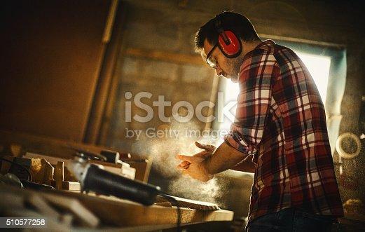istock Carpenter finishing work. 510577258