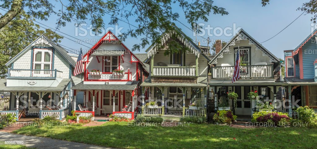 Carpenter Gothic Cottages with Victorian style, gingerbread trim in Wesleyan Grove, town of Oak Bluffs on Martha's Vineyard, Massachusetts stock photo