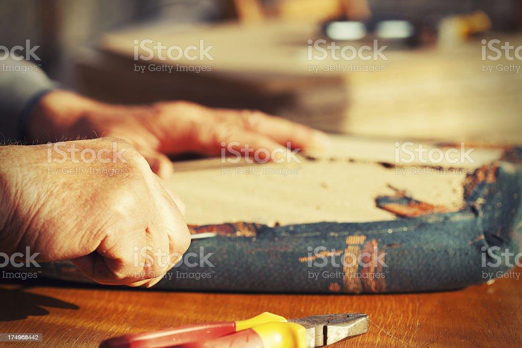 Carpenter remove staple. royalty-free stock photo