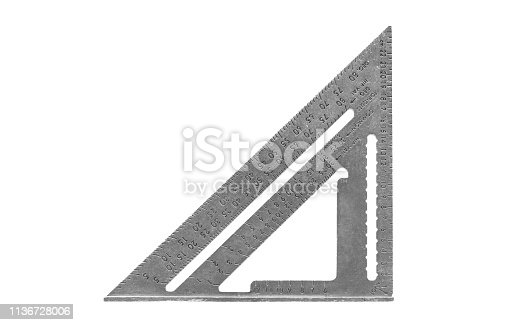 Carpenter speed square isolated on a white background.