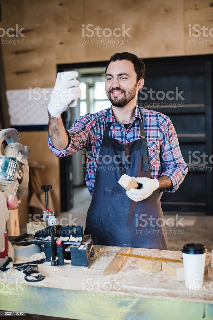 carpenter taking a selfie with miter saw at his work stock photo  u0026 more pictures of adult