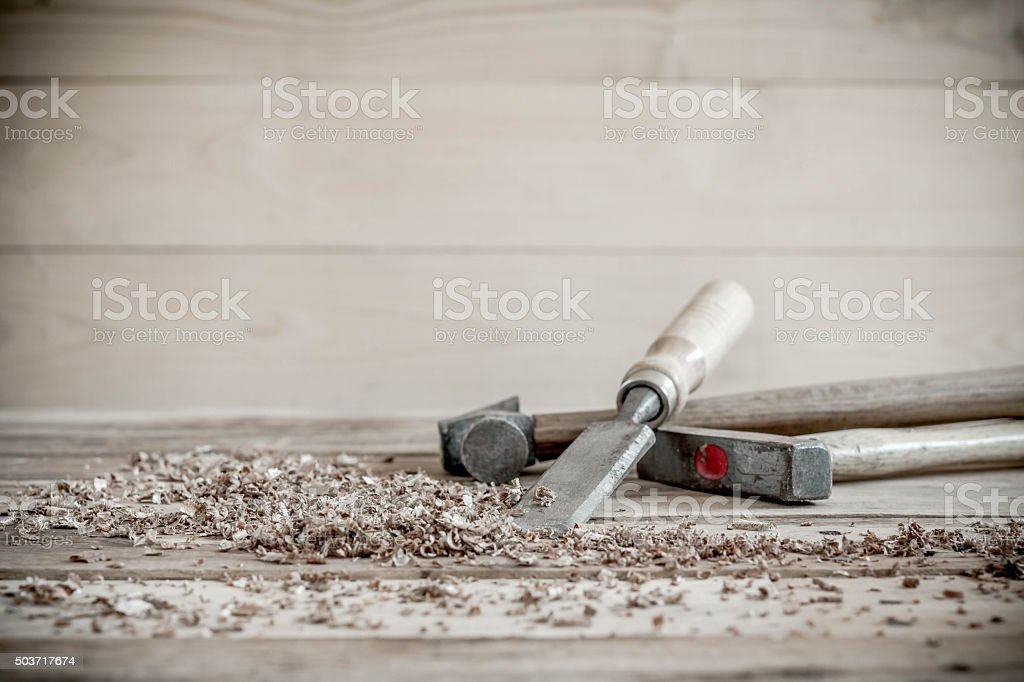carpenter tools in pine wood table stock photo
