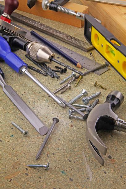 tischlerwerkzeuge - diy ordner stock-fotos und bilder