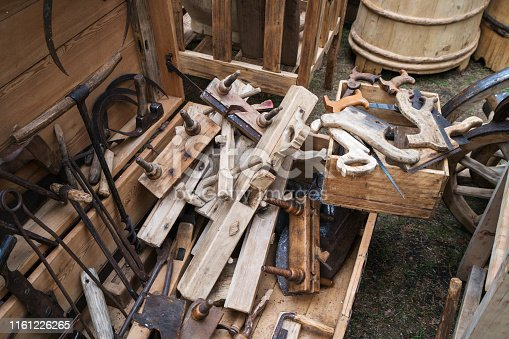 Old, hand made tools for carpenting