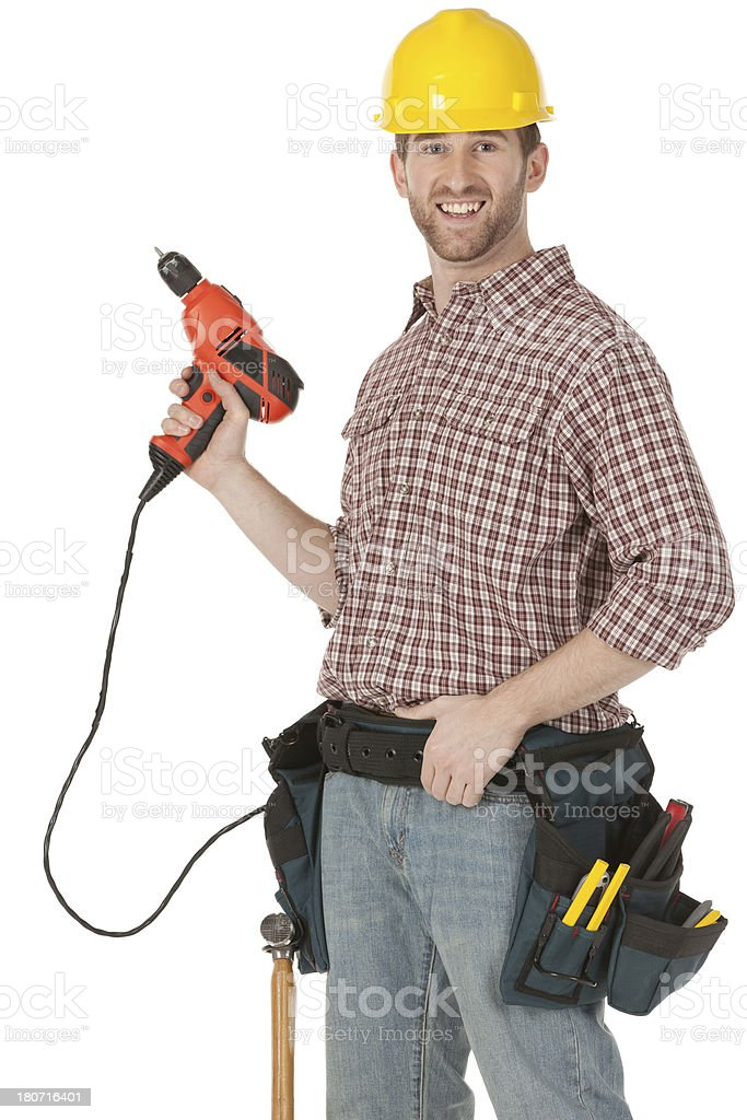 Carpenter with a hand drill royalty-free stock photo