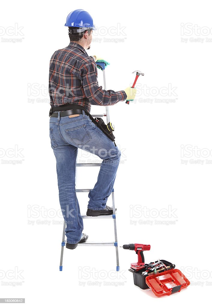 Carpenter with hammer, white background stock photo