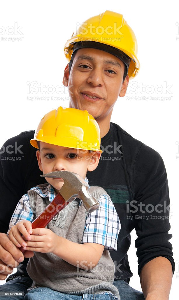 Carpenter With son royalty-free stock photo