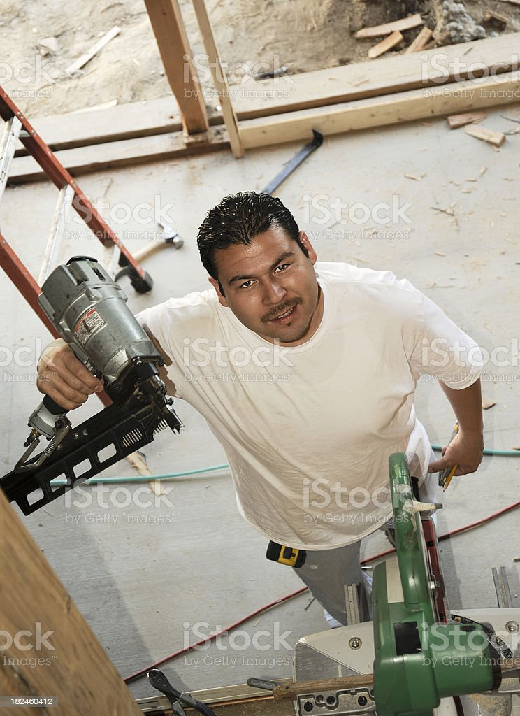 Carpenter with tools royalty-free stock photo