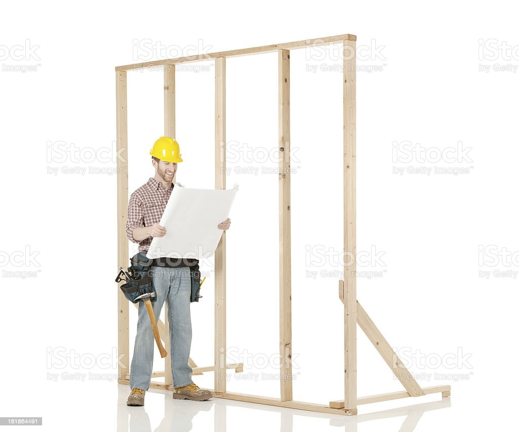 carpenter with wooden frame royalty-free stock photo