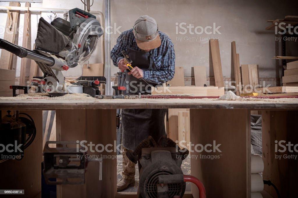 Timmerman werk met houten - Royalty-free Activiteit Stockfoto