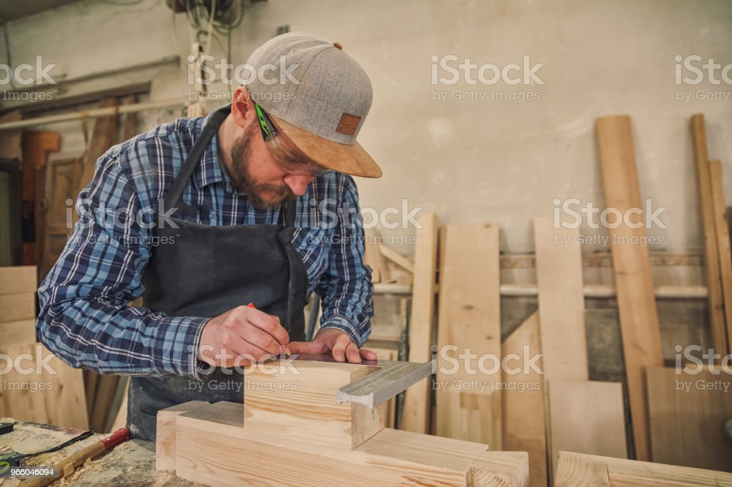 Carpenter  work with wooden - Royalty-free Adult Stock Photo