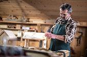 Mature carpenter making bird house in workshop.