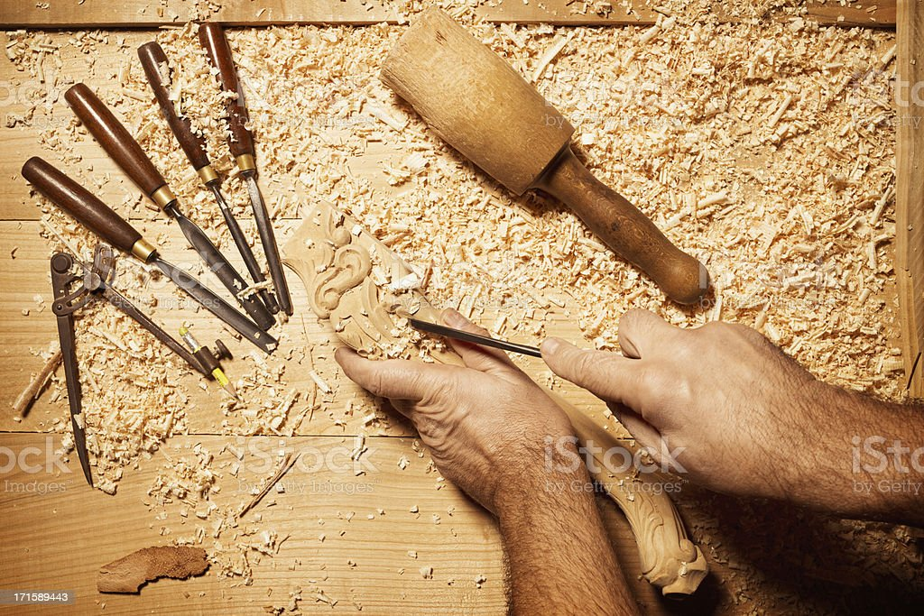 Carpenter working with his tools stock photo