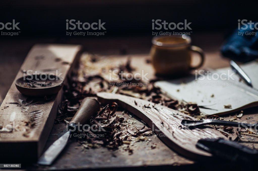 Carpenter Worktools stock photo