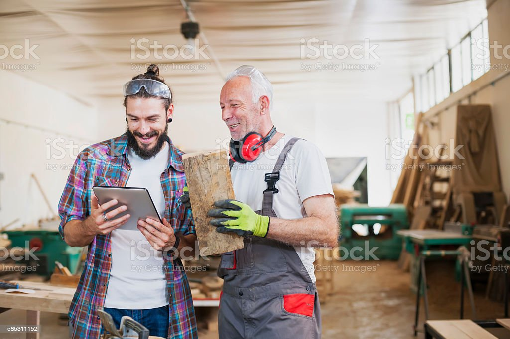 Carpenter's at work stock photo