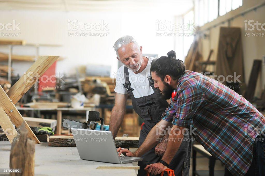 Carpenter's at work stock photo