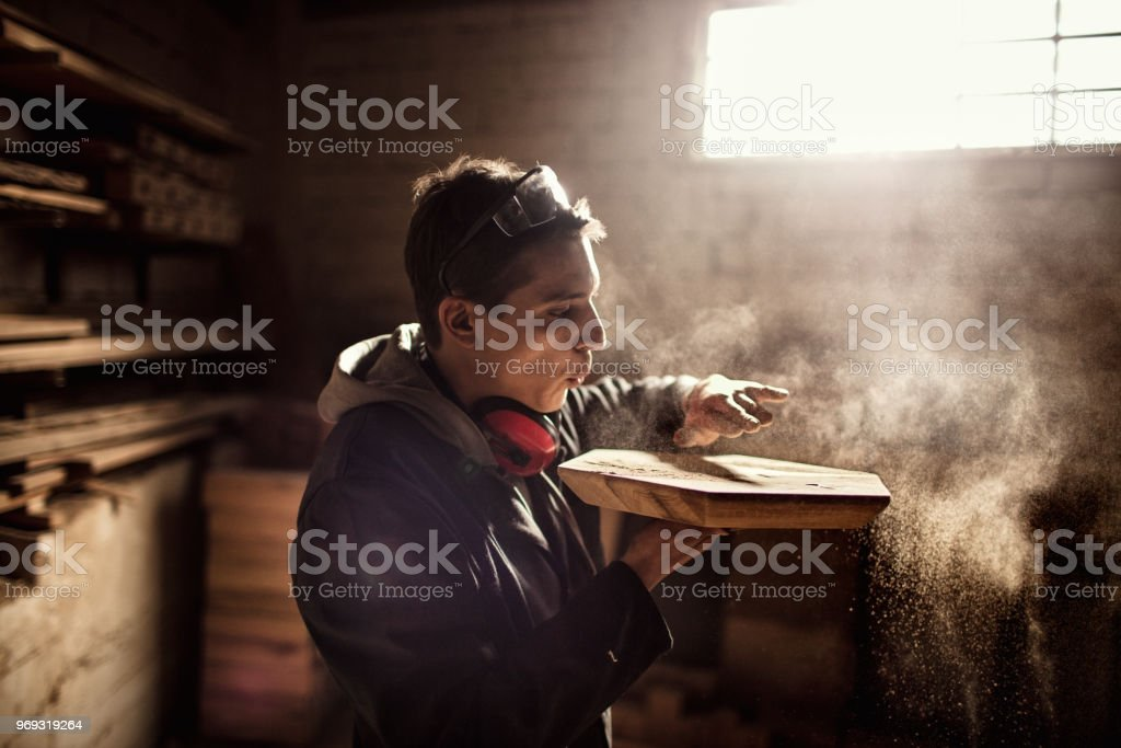 Carpenters at work stock photo