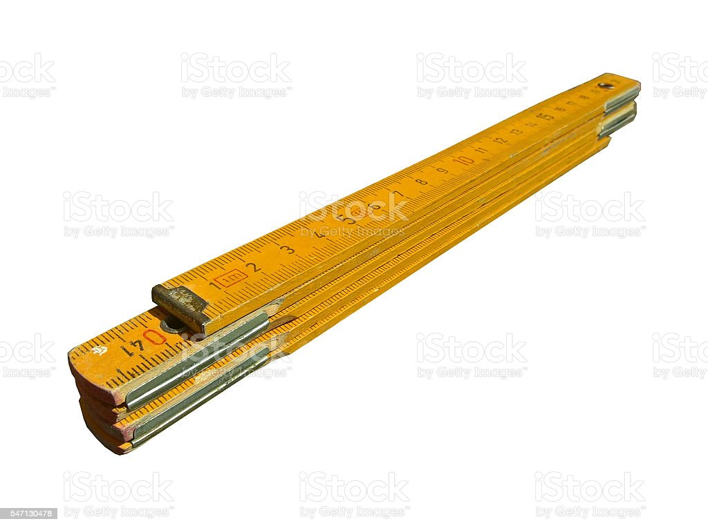 Carpenter's Folding Ruler (Yellow) Isolated stock photo