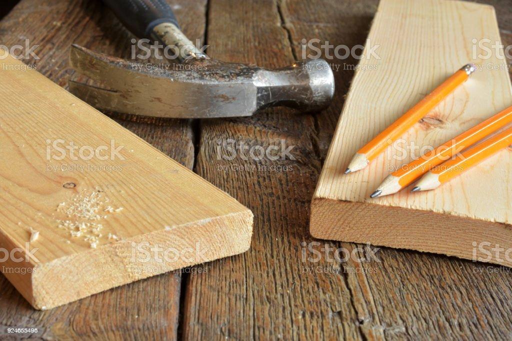 Carpenter's Work Bench Close Up stock photo