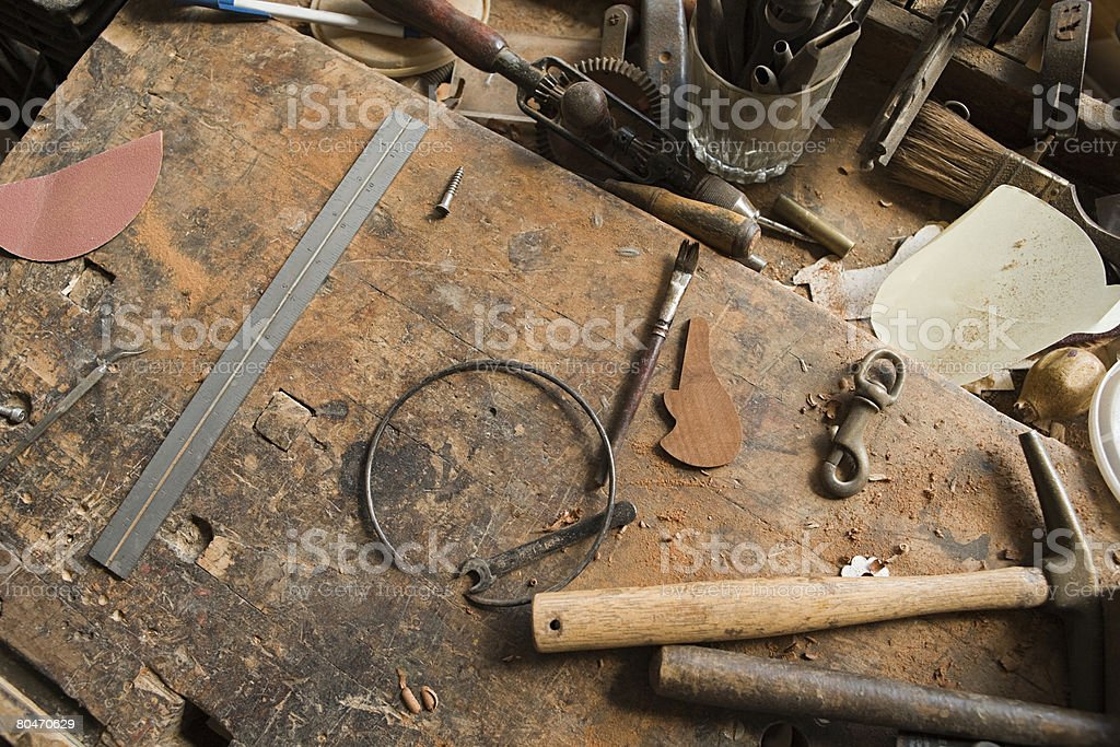Carpenters workbench stock photo