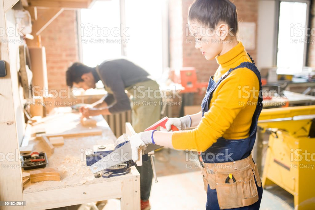 Carpenters Working in Joinery royalty-free stock photo