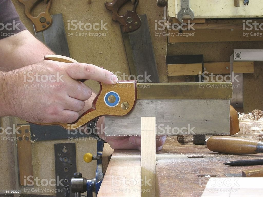Carpentry - Cutting Dovetails royalty-free stock photo