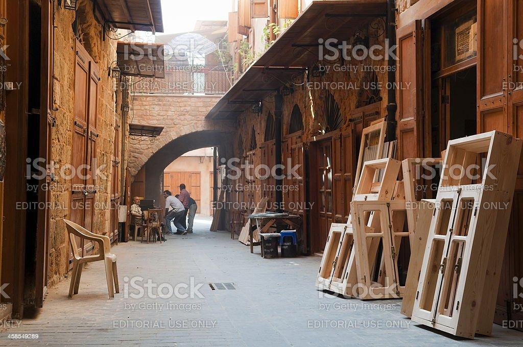 Tischlerarbeit street in Sidon, Libanon – Foto