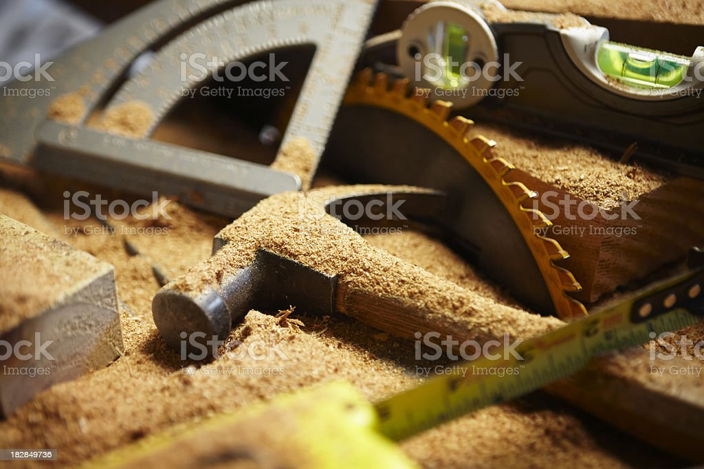 Carpentry Tools Covered in Sawdust royalty-free stock photo