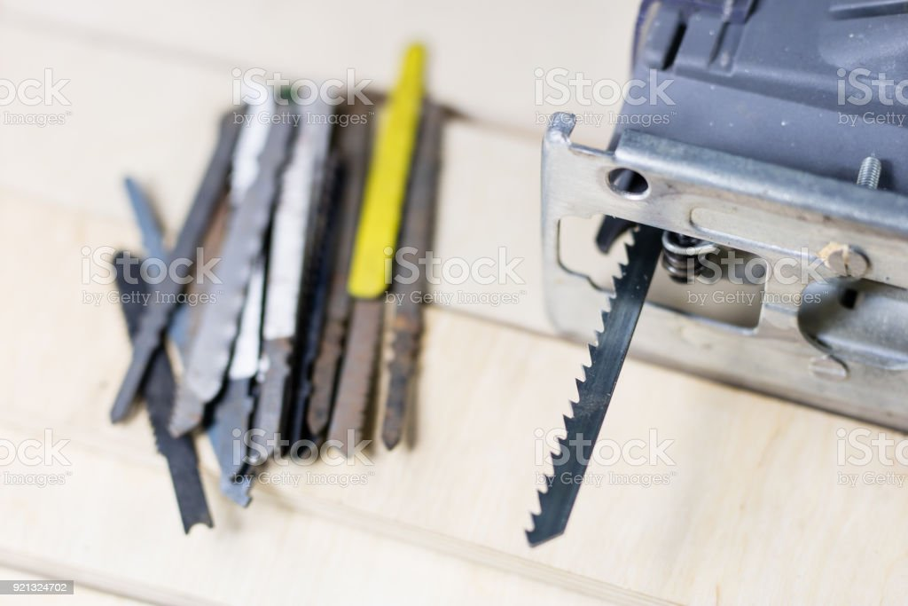 Carpentry Tools On A Wooden Workshop Table Saw And Other Carpentry