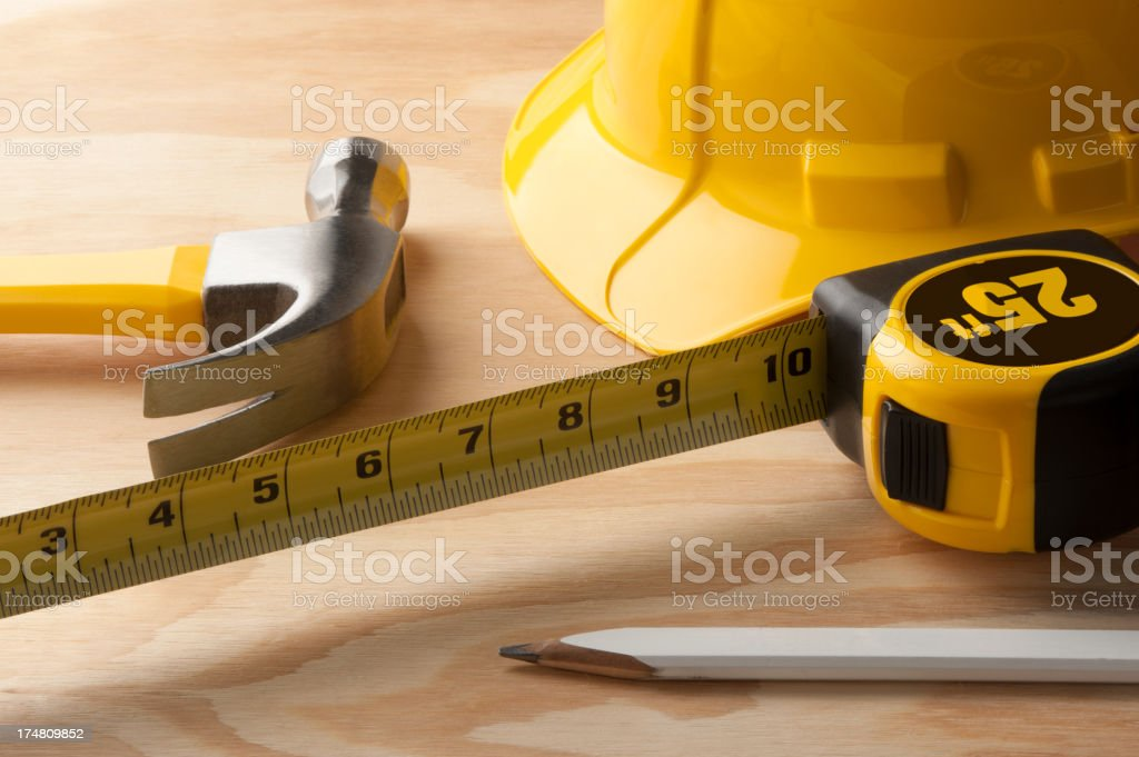 Carpentry Tools on Wood royalty-free stock photo