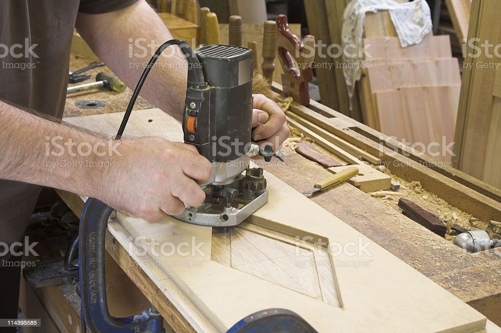 Carpentry Tools -  Router And Jig In Use royalty-free stock photo