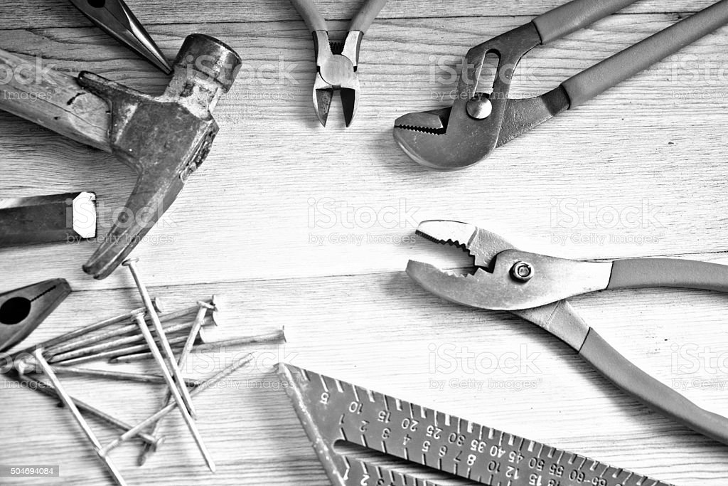 Carpentry Tools, Wood Work Bench, Copy Space, Full Frame Closeup
