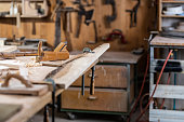 Carpentry With Tools And Wood Workpieces