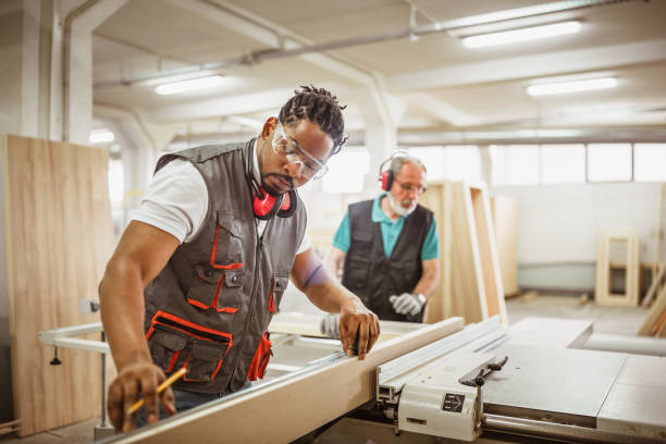 Carpentry workers on site stock photo