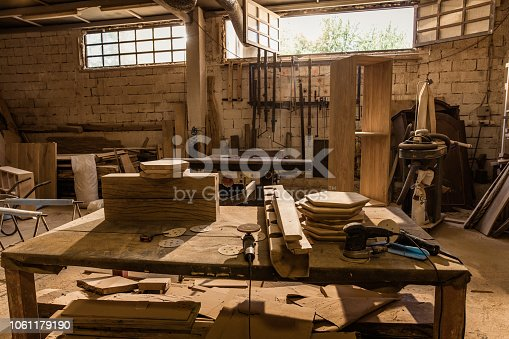 Carpentry workshop without people.