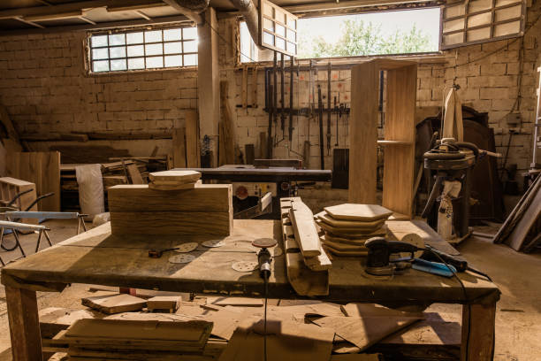 Carpentry workshop with no people. Carpentry workshop without people. workbench stock pictures, royalty-free photos & images