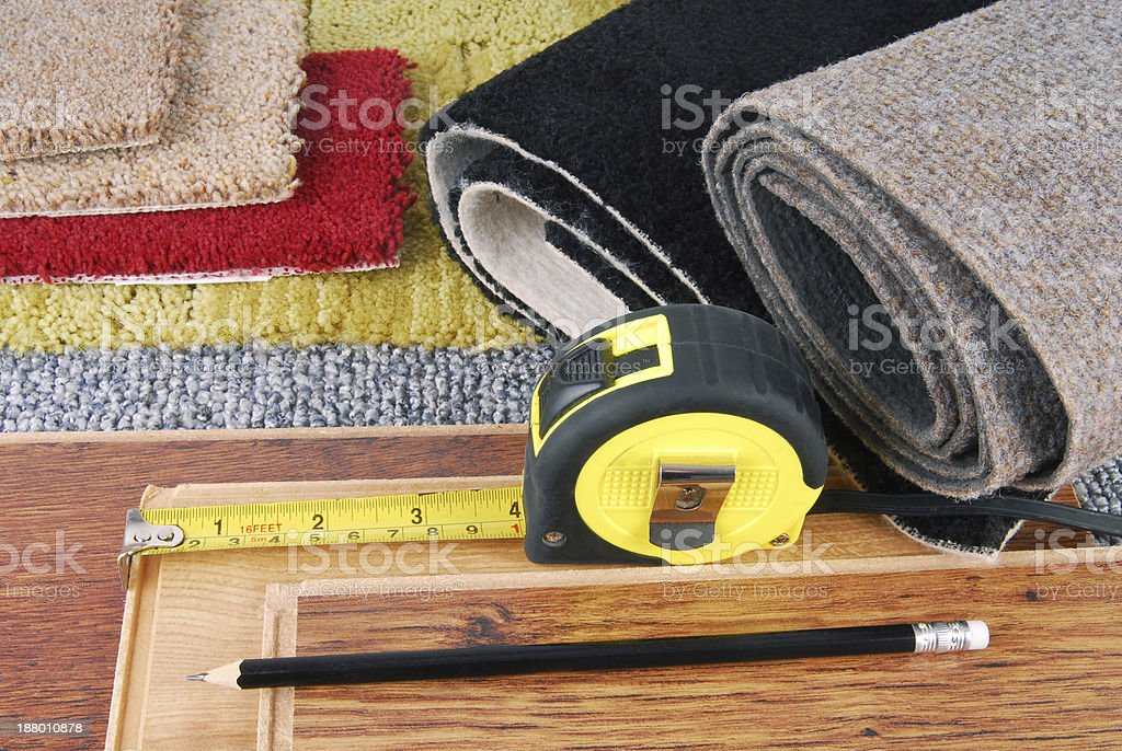carpet and laminate choice for interior stock photo